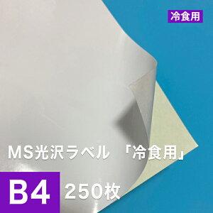 MS光沢ラベル「冷食用」 B4サイズ:250枚, 光沢紙 低温 シール印刷 食品用シール ノーカット ラベルシール ラベル用紙 印刷用紙 印刷紙 レーザープリンター用 ラベル印刷 松本洋紙店
