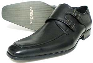LASSU&FRISS ロングノーズ ダブルモンクストラップ ビジネスシューズ 黒 3E(EEE) 27.5cm、28cm(28.0cm)、28.5cm、29cm(29.0cm)、30cm(30.0cm)[大きいサイズ・革靴・紳士靴]