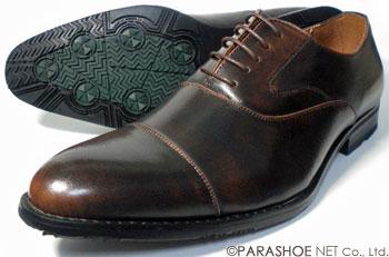 S-MAKE(エスメイク)内羽根ストレートチップ(キャップトゥ)ビジネスシューズ 防滑ソール アンティーク濃茶(ダークブラウン)ワイズ3E(EEE)23cm(23.0cm)、23.5cm、24cm(24.0cm)[小さいサイズ(スモールサイズ)紳士靴]
