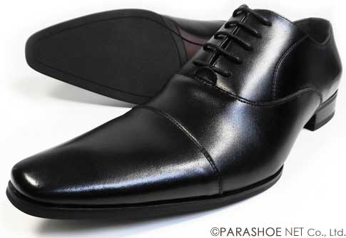 S-MAKE(エスメイク)本革 内羽根ストレートチップ(キャップトゥ) ビジネスシューズ 黒 ワイズ(足幅)/3E(EEE) 23cm(23.0cm)、23.5cm、24cm(24.0cm) 【小さいサイズ(スモールサイズ)革靴・紳士靴】