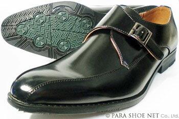 PARASHOE モンクストラップ ビジネスシューズ 黒 ワイズ3E(EEE) 22cm(22.0cm)、22.5cm、23cm(23.0cm)、23.5cm、24cm(24.0cm)[小さいサイズ(スモールサイズ)紳士靴]