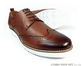 PARASHOE 本革 ウィングチップ ビジネスカジュアルシューズ 厚底白ソール ワイズ3E(EEE)茶色【メンズ革靴・紳士靴/大きいサイズ 27.5cm、28cm、28.5cm、29cm、29.5cm、30cm、31cm、32cm、小さいサイズ 22cm、22.5cm、23cm、23.5cm、24cm あり】