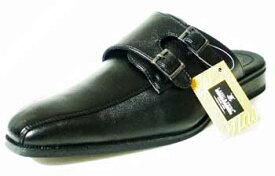 LASSU&FRISS ダブルモンクストラップ ビジネススリッパ/ビジネスサンダル 黒(メンズ 革靴 紳士靴 通気性)