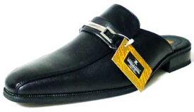LASSU&FRISS ビットローファー ビジネススリッパ/ビジネスサンダル 黒(メンズ 革靴 紳士靴 通気性)
