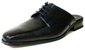 LASSU&FRISS スワールモカ ビジネススリッパ/ビジネスサンダル 黒(メンズ 革靴 紳士靴 通気性)