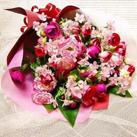 [誕生日花][お祝い花束][送別花束]にも赤バラとトルコキキョウの花束