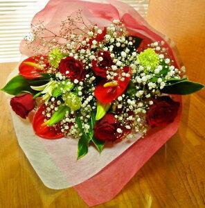 [送料無料][赤バラ・アンスリュームユリの花束][お祝い花][誕生日花][[送別花束][誕生日花束]【RCP】【HLS_DU】【楽ギフ_メッセ入力】