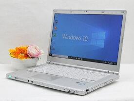 【中古】あす楽 WEBカメラ搭載 送料無料 ノートパソコン Office付き Windows10 Panasonic Let's note CF-LX5ADHKS Core i5 6300U 2.4GHz メモリ 4GB 新品SSD 256GB DVD-RW Cランク F4