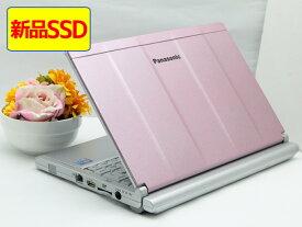 【中古】ピンク 天板塗装カスタマイズ 送料無料 ノートパソコン Office付き 新品SSD換装済み Windows10 Panasonic Let's note SX2 CF-SX2ADHCS Core i5 3340M メモリ 8GB SSD256GB DVD-RW Cランク W8