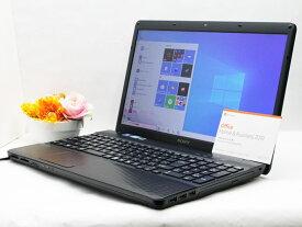 【中古】あす楽 WEBカメラ搭載 テレワークに最適 送料無料 ノートパソコン Microsoft Office 2019 付き Windows10 SONY VAIO Eシリーズ VPCEH27FJ Core i3 2330M 2.2GHz メモリ 8GB 新品SSD256GB DVD-RW Bランク Q12