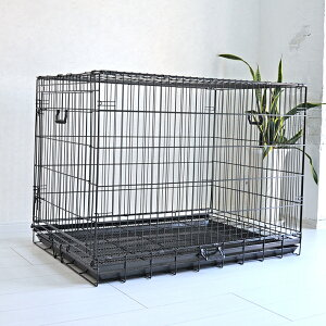 【おすすめ】ペットケージ すのこ付き XLサイズ 106.5cm×69.5cm×高さ80cm ブラック 折りたたみ式 スチール製 ペットケージ ケイジ 中型犬 大型犬 送料無料 ペットに清潔な住まい プチリュバン