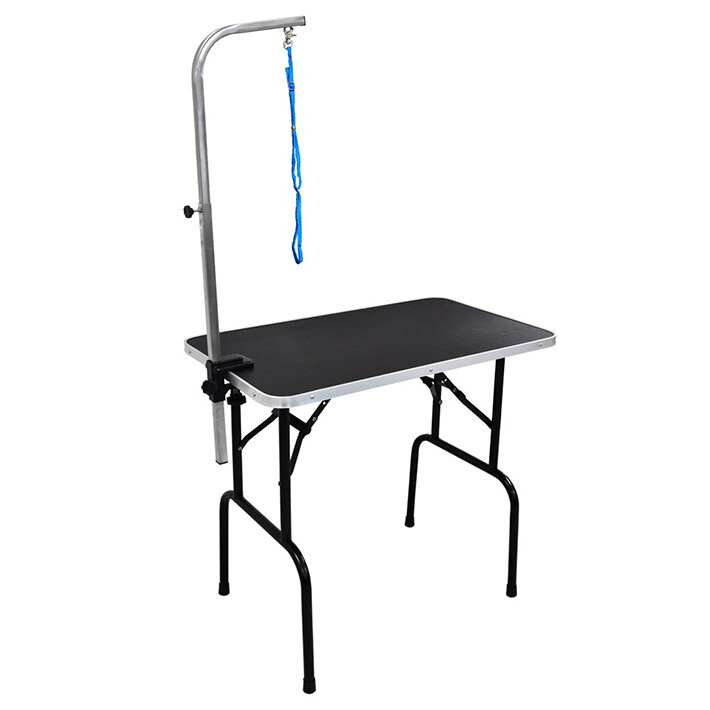 トリミングテーブル Lサイズ 高さ78cm 台面ブラック 86×51cm 足ブラック 送料無料 折畳機能 中型犬 大型犬