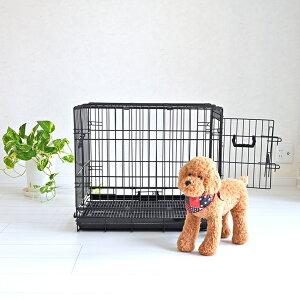 【マラソン期間中全品P5倍】ペットケージ すのこ付き Mサイズ 59.5cm×41.7cm×高さ52.5cm ブラック 折りたたみ式 スチール製 ペットケージ ケイジ 小型犬 中型犬 送料無料 ペットに清潔な住まい