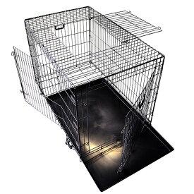 スリードア 折りたたみ式 ペットケージ XXLサイズ 122×74.5×高さ82cm) ブラック トレイ付 スチール製 中型犬 大型犬 送料無料 プチリュバン