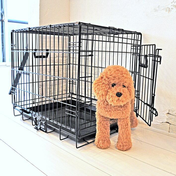 ペットケージ ダブルドア Mサイズ 61cm×45cm×高さ51cm 折りたたみ式 プチリュバン 天井開閉トビラ式 ブラック トレイ付 スチール製 中型犬 小型犬