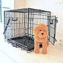 3個まとめ買い ペットケージ ダブルドア Mサイズ 61cm×45cm×高さ51cm 折りたたみ式 プチリュバン 天井開閉トビラ式 ブラック トレイ付 スチール製 中型犬 小型犬