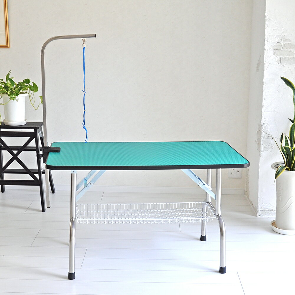 【全品ポイント3倍】トリミングテーブル 外付けアーム付 超大型LLサイズ カゴ付 高さ65cm 110cm×60cm PVC 折畳機能付 送料無料