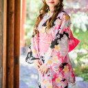 【送料無料】レディース 浴衣【単品】【桜】【GB】ピンク系(黒地) 【4サイズ】さくら 蝶 扇 紅梅 綿 高級 シンプル お洒落 粋 ちょっと…