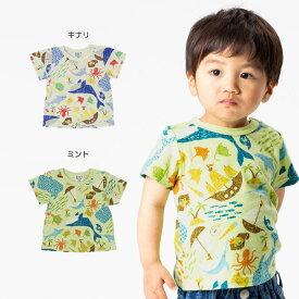【セール40%OFF】【メール便送料無料】bit'z(ビッツ)宝島マリン柄Tシャツ【男の子】【80-120】【b307019】