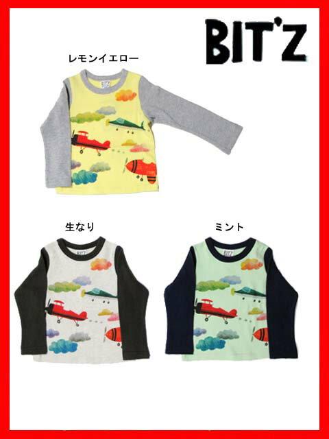 【楽天スーパーセール限定56%OFF】[メール便OK]bit'z(ビッツ)飛行機プリント長袖Tシャツ