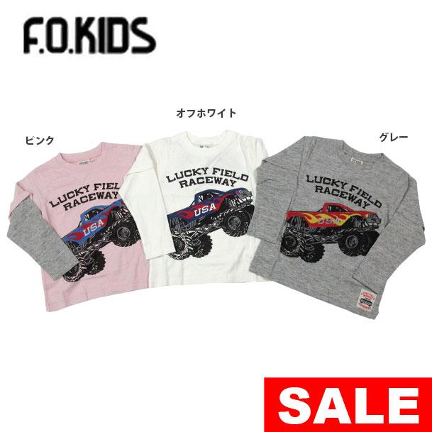 【セール50%OFF】【メール便OK】エフオーキッズ F.O.KIDS モンスタートラックレイヤード風Tシャツ【男の子】【80-140】【r106078】