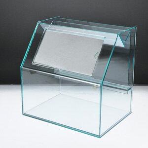 スライド募金箱Lタイプ ガラスエッジ POP差し付 鍵付 幅25cm