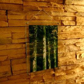 アクリルフォトフレーム ガラスエッジA4サイズ 壁掛けタイプチェーン付