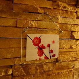 アクリルフォトフレーム クリアハガキサイズ 写真Lサイズ 壁掛けタイプ チェーン付