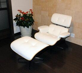 イームズ ラウンジチェア・オットマンセット■ソフトPUレザー仕様 ホワイト×エボニー/座り座り心地は極上!/eames Lounge chair パーソナルチェア ミッドセンチュリー Charles & Ray Eames パーソナルチェア リクライニングチェア