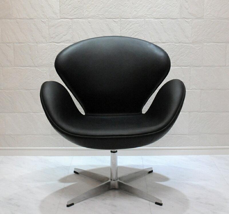 スワンチェア /レザー仕様/カラー ブラック(黒)/座り心地は極上!1台1台職人による手作り・手縫い仕上げ アルネ・ヤコブセン作 リプロダクトの傑作 新品 suwan chair red Arne Jacobsen イス いす 椅子 パーソナルチェア