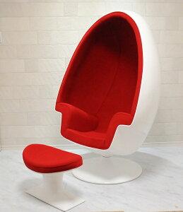 スピーカーチェア オットマンセット/エーロ・アールニオ デザイン/ホワイト×レッド Eero Aarnio design furniture デザイナーズ家具 ソファ ソファー パーソナルチェア