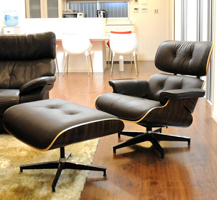 イームズラウンジチェア ダークブラウン×エボニー 総本革CharlesRayEames パーソナルチェア 1人用 1人掛け 椅子 いす イス ソファ チャールズ&レイ・イームズ