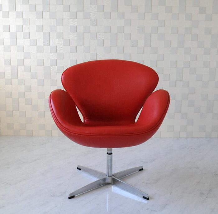 スワンチェア /レザー仕様/カラー レッド 赤/座り心地は極上!1台1台職人による手作り・手縫い仕上げ アルネ・ヤコブセン作 リプロダクトの傑作 新品 suwan chair red Arne Jacobsen イス いす 椅子 パーソナルチェア