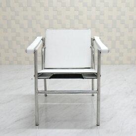 ル・コルビジェ LC1 ホワイト スリングチェア 最高級レザー仕様 Le Corbusier Sling Chair 椅子 パーソナルチェア 一人用 1人用 ダイニングチェア カウンターチェア