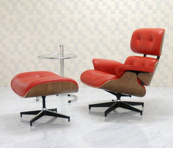 イームズラウンジチェア レッド×ウォールナット 総本革CharlesRayEames パーソナルチェア 1人用 1人掛け 椅子 いす イス ソファ チャールズ&レイ・イームズ
