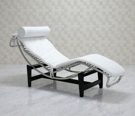 ル・コルビジェ/LC4 シェーズロング 本革 ホワイト 新品 Le Corbusier Italian leather リプロダクト デザイナーズ家具 ベッド ソファベッド ルコルビジェ パーソナルソファ 一人用 一人掛け