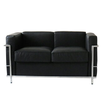 Le Corbusier LC2 2 p black total leather Italian leather specifications  couch sofa bed two-seat sofa leather (leather)