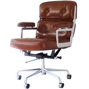 イームズ タイムライフエグゼクティブチェア ブラウン 総本革×アルミ チャールズ&レイ・イームズ Charles Ray Eames パーソナルチェア リラックスチェア 椅子 オフィスチェア パソコ