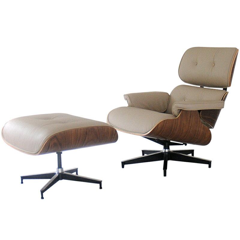 イームズラウンジチェア モスベージュ×ウォールナット 総本革CharlesRayEames パーソナルチェア 1人用 1人掛け 椅子 いす イス ソファ ソファー チャールズ&レイ・イームズ