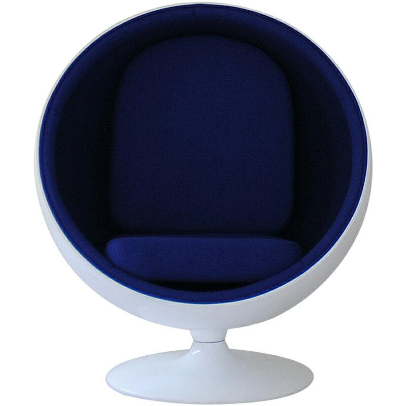 ボールチェア/エーロ・アールニオ デザイン/ホワイト×ブルー Eero Aarnio ball chair ミッドセンチュリー パーソナルソファ 一人掛け リビング家具 応接家具 デザイナーズ家具 北欧