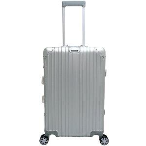 アルミニウム製スーツケース 色シルバー/ブラック Mサイズ 55L 24インチ 日本製ダブルキャスター TSAロック採用 キャリーケース 旅行かばん 旅行鞄 アルミスーツケース トランクケース