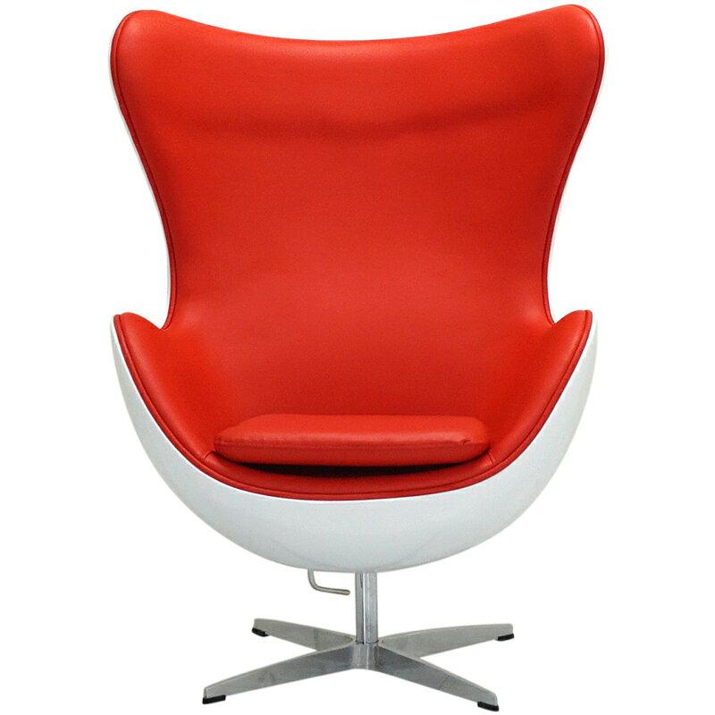 エッグチェア ファイバーグラス外装仕様 レッド アルネ・ヤコブセン eggchair デザイナーズ パーソナルチェア パーソナルソファ 1人掛け 1人用 ソファ 椅子 いす イス eggchair leather Arne Jacobsen