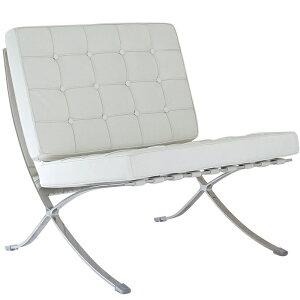 バルセロナチェア ミースファンデルローエ 総本革イタリアンレザー仕様 ホワイト 白 BARCELONA Chair 北欧家具 デザイナーズ リプロダクト