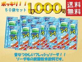 【 送料無料 】 1000円 送料無料 ポッキリ 懐かしい! 駄菓子 の定番 粉末 ジュースシリーズ フレッシュソーダ 松山製菓 の 粉末ジュース 50袋 大人買い