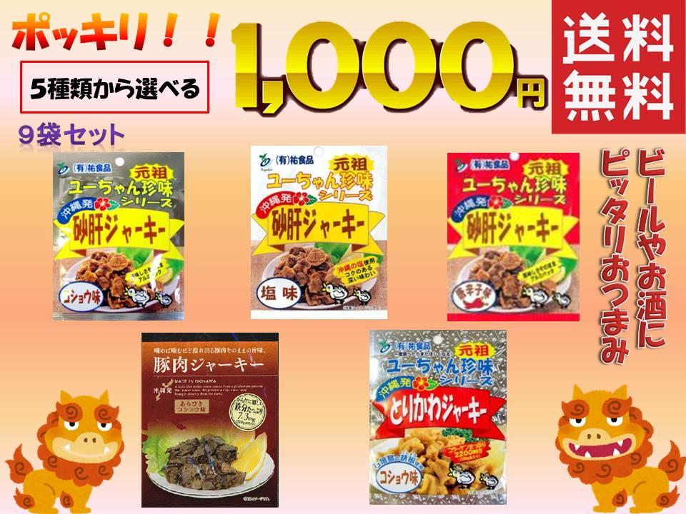 【 送料無料 】「 沖縄 砂肝 ジャーキー コショウ味 塩味 唐辛子 ・ 豚肉ジャーキー とりかわ 」 9袋 1000円 ポッキリ