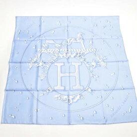 【新品同様】 エルメス HERMES スカーフ カレ90 シルク VIF ARGENT 銀のしずく ショール 大判 レディース スカイブルー ブルー ホワイト 青 白 水色 【中古】 p-eg19121495