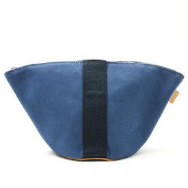 【未使用】 エルメス HERMES パルミール ポーチ ミニ バッグ キャンバス レザー 小物 レディース メンズ ブルー ネイビー 青 紺 p202009130