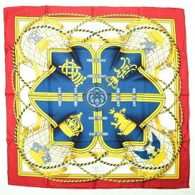 【未使用】 エルメス HERMES スカーフ カレ 90 シルク GRANDE TENUE 馬の礼装 王冠 ショール 大判 レディース レッド ホワイト イエロー 赤 白 紺 p202011392