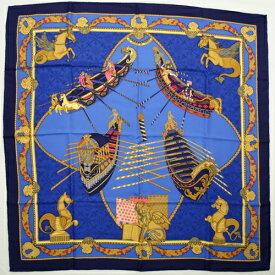 【未使用】 エルメス HERMES スカーフ カレ 90 シルク Les Bissone de Venise ヴェニスの船祭り ゴンドラ ベニス 運河 ライオン 馬 ショール 大判 レディース メンズ ブルー イエロー マルチカラー 青 p2021070