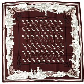 【未使用】 エルメス HERMES スカーフ カレ55 シルク les canyons etoiles 峡谷から星たちへ 流れ星 バンダナ ショール レディース メンズ 茶色 赤 白 バーガンディー ブラウン ホワイト r2021046